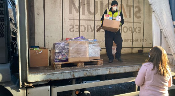 Stadium Export Services delivering donations to Newcastle East Foodbank